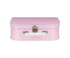 Koffertje met naam - stippen roze