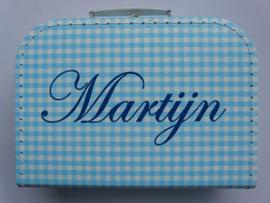 Koffertje met naam - ruitjes blauw