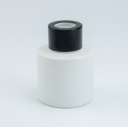 Wit parfumflesje cylinder - zwart dopje