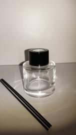 Parfumflesje cylinder - zwart dopje