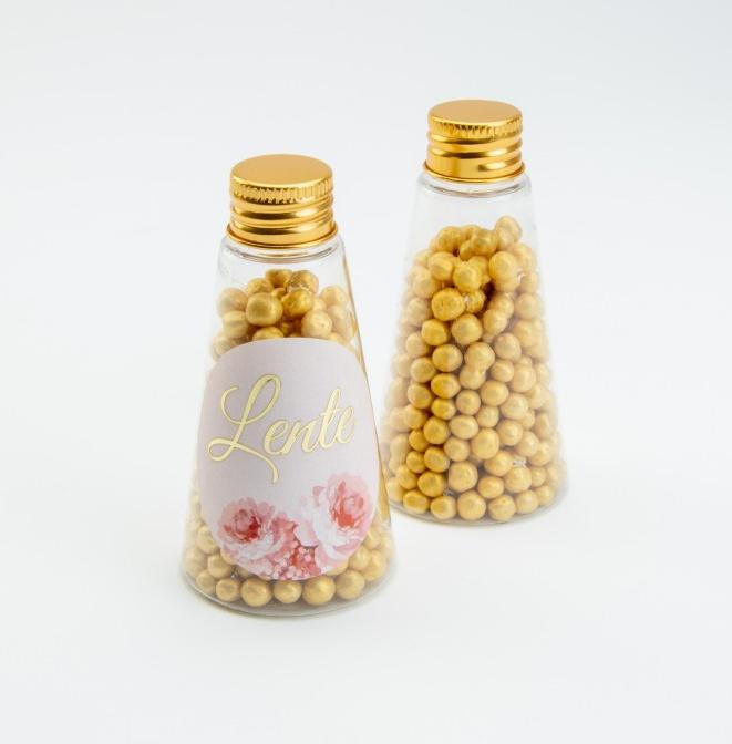 Plexi kegel flesje met gouden schroefdop
