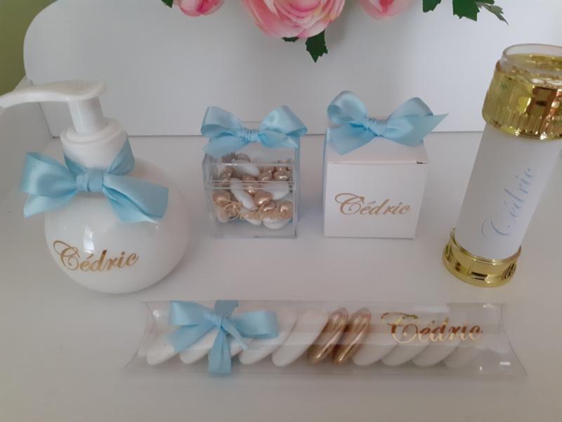 Doopsuiker CEDRIC -  babyblauw en goud