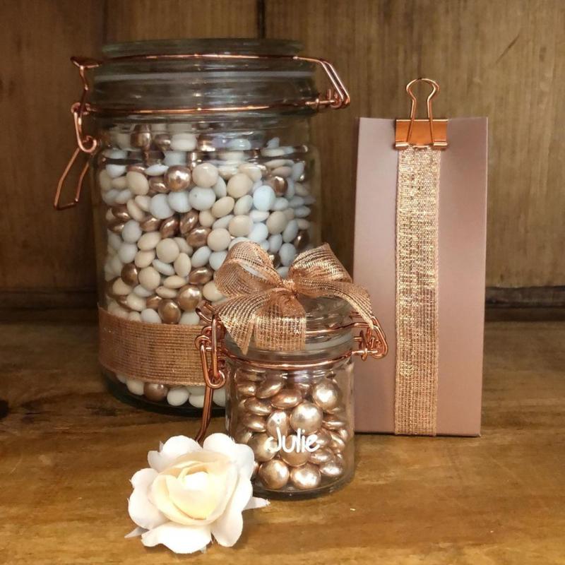 Glazen weckbokaaltje met koper/rosegold sluiting
