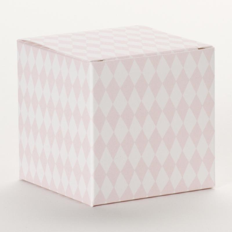 Vichy roze kubusdoosje