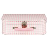 Koffertje met naam - ruitjes roze