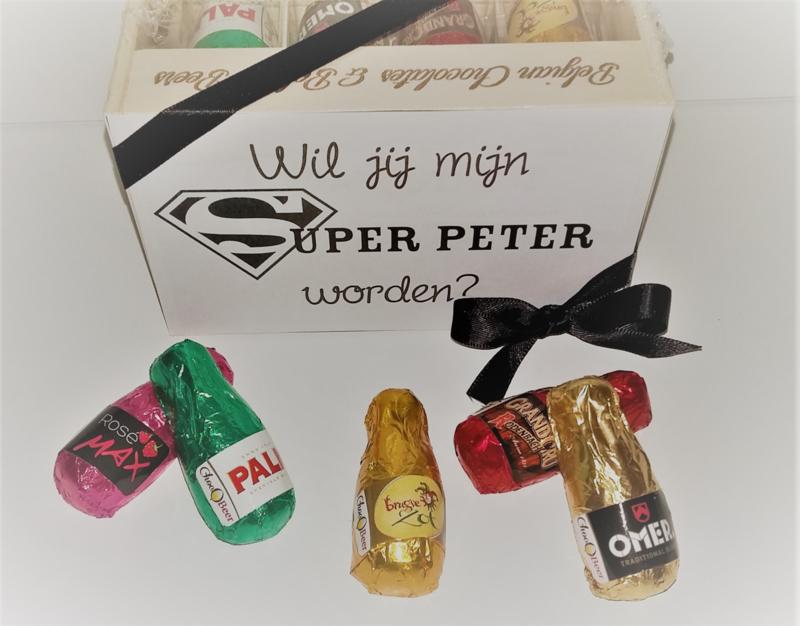 Mini  bierbakje met bierpralines  -  Wil jij mijn super peter worden?