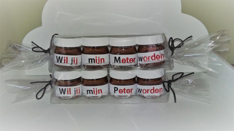 Mini Nutella Potjes Wil Jij Mijn Petermeter Worden Wil