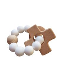 Siliconen bijtring met plus - kruisje | Wit | Basic.