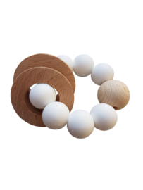 White rattle rammelaar | Siliconen | Wit | Mini.