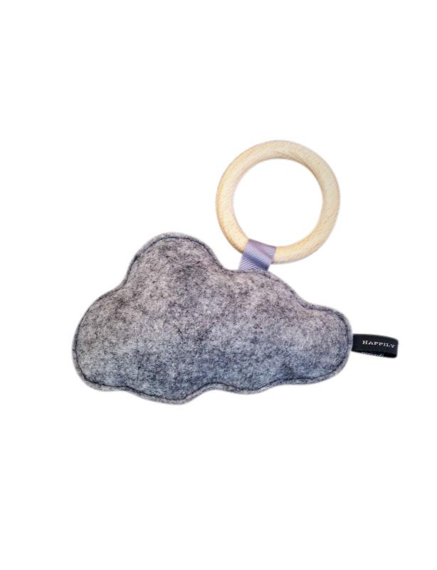 Vilten wolk rammelaar met bijtring | Licht grijs | Basic.