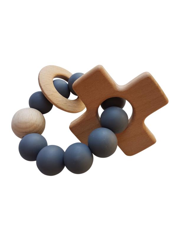 Siliconen bijtring met plus - kruisje | Donker grijs | Basic.