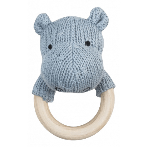 Blauw grijze nijlpaard rammelaar uit de baby collectie van Jollein.