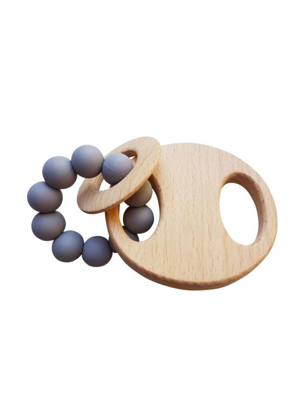 Siliconen bijtring met houten schijf | Grijs | Basic.