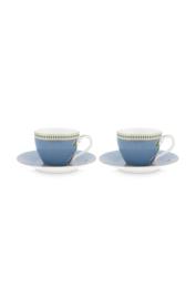 Cadeauset 2 Espressokop & Schotels Blue (120 ml.) - Pip Studio La Majorelle