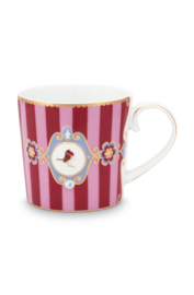 Mok Medallion Red Pink Stripes (150 ml.) - Pip Studio Love Birds