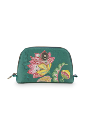 Cosmetica Tas Triangle Small Jambo Flower Green (19 cm.) - Pip Studio