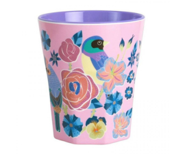 Beker Melamine Singing Birds Pink (300 ml.) - Ginger