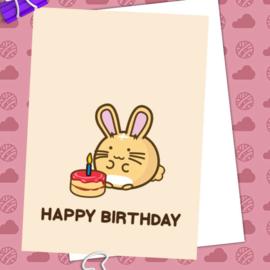 Kaart 'Happy Birthday' Bunny Cake - Fuzzballs