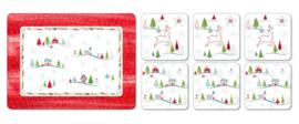6 Placemats & 6 Onderzetters - Pimpernel Christmas Wish