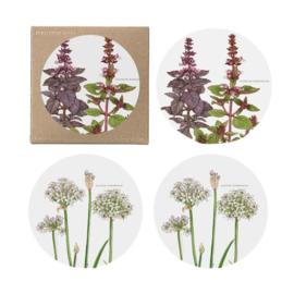 Set 4 Onderzetters Herbs (9 cm.) - Koustrup & Co.
