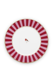 Ontbijtbord Red Pink Stripes (21 cm.) - Pip Studio Love Birds
