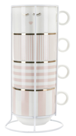 Houder met 4 Mokken Pink Stripes - Miss Étoile