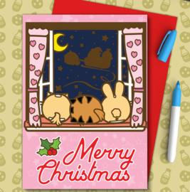 Kaart 'Merry Christmas' Waiting for Santa - Fuzzballs
