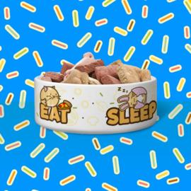 Dieren Voer-/Drinkbak 'Eat Sleep Play Repeat' - Fuzzballs