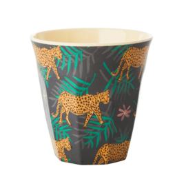 Melamine Beker Leopard & Leaves Medium - Rice