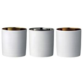 3 Porseleinen Kaarsenhouders Goud Zilver Koper - Bloomingville