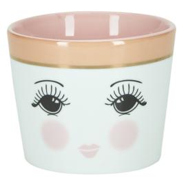 Ceramic Pot Open Eyes Pink (10,5 cm.) - Miss Étoile