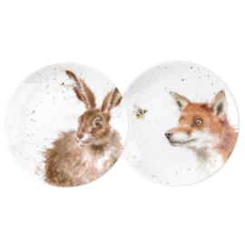 2 Borden Fox & Hare (16,5 cm.) - Wrendale Designs