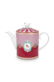 Theepot Medallion Red Pink (1,3 l.) - Pip Studio Love Birds