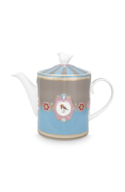 Theepot Medallion Blue Khaki (1,3 l.) - Pip Studio Love Birds
