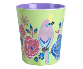 Beker Melamine Singing Birds Green (300 ml.) - Ginger