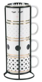 Houder met 4 Espressomokjes Dots - Miss Étoile