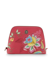 Cosmetica Tas Triangle Large Jambo Flower Red (29 cm.) - Pip Studio