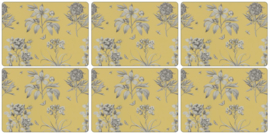 6 Placemats (30,5 cm.) - Pimpernel Sanderson Etching & Roses Yellow