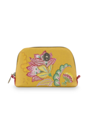 Cosmetica Tas Triangle Small Jambo Flower Yellow (19 cm.) - Pip Studio