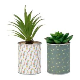 2 Kunstplanten in Blik (22 cm.) - Sema Design