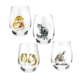 4 Tumbler Glazen (550 ml.) - Wrendale Designs