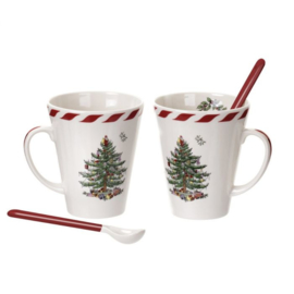 Set 2 Mokken & Lepels Peppermint - Spode Christmas Tree
