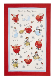 Linnen Theedoek Santa & Snowman - Ulster Weavers