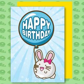 Kaart 'Happy Birthday' Balloon Bunny - Fuzzballs