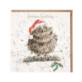 Kerstkaart 'Christmas Owl' - Wrendale Designs