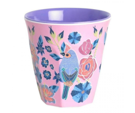Beker Melamine Singing Birds Pink (125 ml.) - Ginger