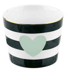 Ceramic Pot Heart Stripe Black Green - Miss Étoile