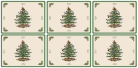 6 Placemats (30,5 cm.) - Pimpernel Christmas Tree