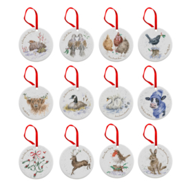 12-delige Set Kerst Decoratie - Wrendale Designs