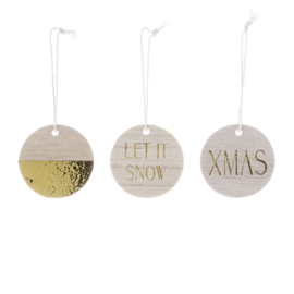 Set van 3 Houten Ornamenten - Bloomingville
